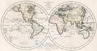 Fünf Theile der Erde, kolor. mědiryt, 1791