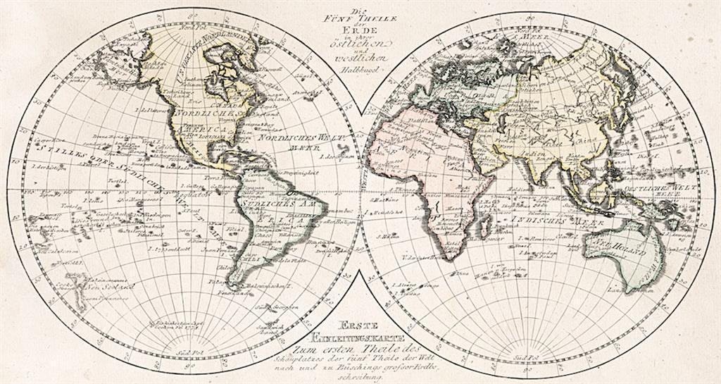 Fünf Theile der Erde, kolor. mědiryt, 1791 - Antikvariát