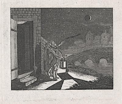 Zatmění astronom, mědiryt, 1777