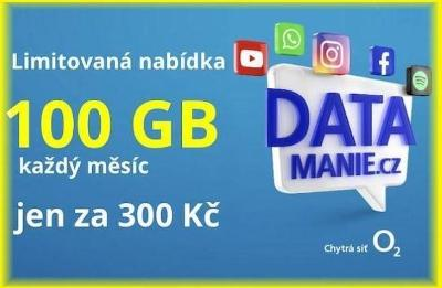 Datamánie Datamania O2 SIM karta 100GB za 300 Kč měsíčně - NOVA !
