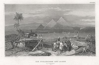 Gizeh Pyramidy, Meyer, oceloryt, 1860