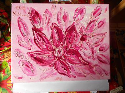 Obraz akryl originál autorská malba Růžové sny