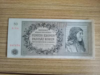 50 korun r.1944 Protektorát, vzácná serie A, perfektní stav UNC