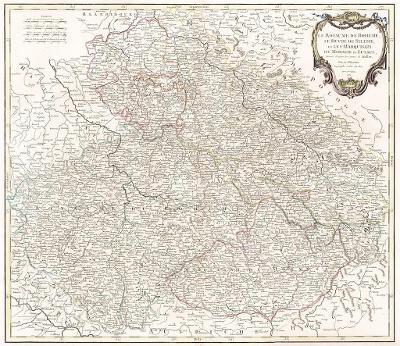Vaugondy de: Royau. de Boheme,.mědiryt 1751
