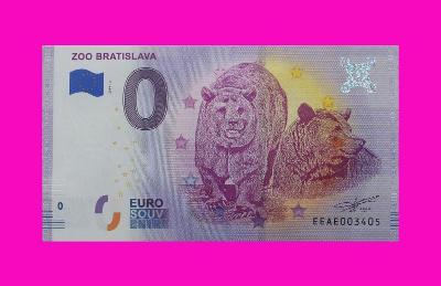 0 Euro souvenir bankovka ZOO BRATISLAVA 2019