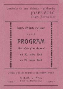 Program kina Vesna. Filmová reklama z kina.