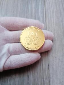 Pamětní mince - COVID 19 - I SURVIVED 2020 - ZLACENÁ - OD 1KČ!