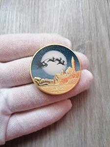 Pamětní mince - MERRY CHRISTMAS AND HAPPY N.Y. - ZLACENÁ - OD 1KČ!