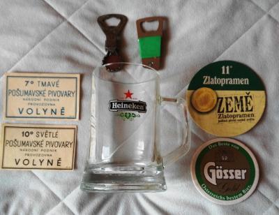 Pivní sklo - HEINEKEN + táceky + etikety+otevíráky
