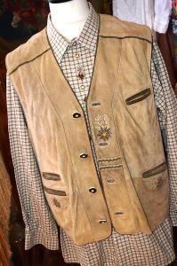 Luxusní dobová kožená vesta vel. L (52)