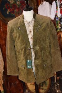 Luxusní dobové kožené sako zelené vel. S (48)