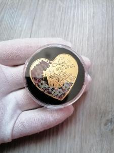 Pamětní mince - LOVE IS FOREVER - ZLACENÁ - OD 1KČ!