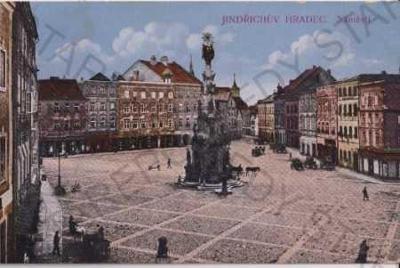 Jindřichův Hradec, náměstí, litografie, kolorovaná