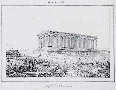 Atheny chrám Theseův, Le Bas, oceloryt 1840