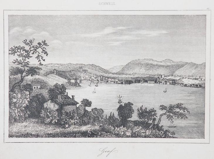 Genf, Le Bas, oceloryt 1842 - Antikvariát