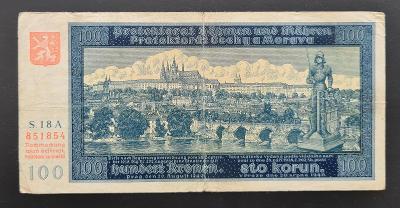 100 korun 1940, neperforovaná, série 18 A, 1. vydání.