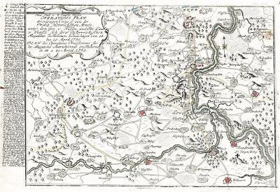 Ústí Litoměřice Žatec bitvy, mědiryt (1760)