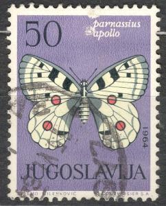 Jugoslávie 1964 Mi 1072 motýli, jasoň červenooký Parnassius apollo