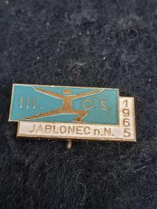 Odznak SPARTAKIÁDA JABLONEC NAD NISOU 1965 - světle modrá varianta.