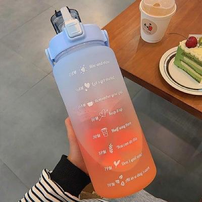 Luxusní plastová matná láhev na vodu s velkou kapacitou MODRÁ+ORANŽOVÁ