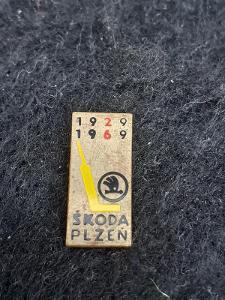 Odznak ŠKODA PLZEŇ - lední hokej, výroční 40 let 1922 - 1962