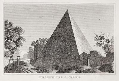 Roma Piramide Cestia, oceloryt 1840