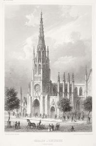 New York Grace Church, Meyer, oceloryt, 1850