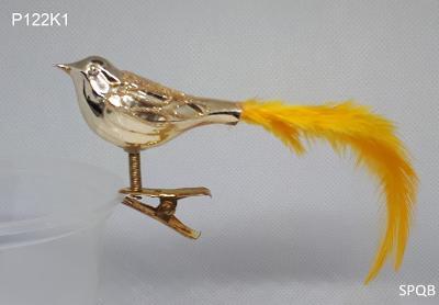 P122K1 - ptáček, zlatá, žluté peří, 6cm, klips