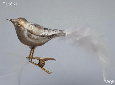 P118K1 - ptáček, zlatá, bílé peří, 6cm, klips