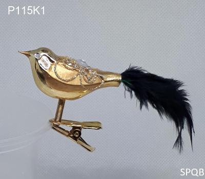 P115K1 - ptáček, zlatá, černé peří, 6cm, klips