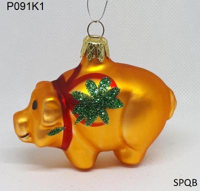 P091K1 - prasátko, zlatá, 8cm