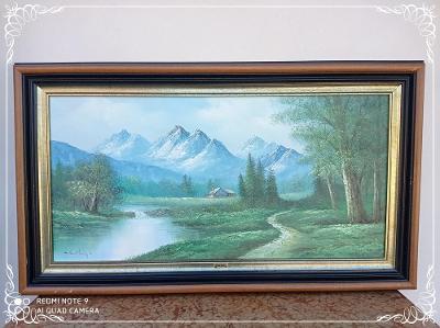 *** Starý dřevěný obraz olej na plátně - krajina ***
