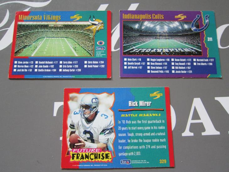 KARTY 3 ks SPORTOVNÍ RUGBY SCORE 1994 AMERICKÝ FOTBAL (311, 313,329) - Sportovní sbírky