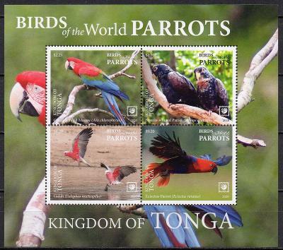 Tonga-Papoušci 2020**  Mi.Bl.135 / 23 €