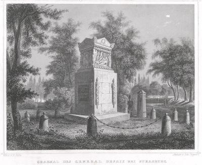 Strasburg Desaix hrob, Lange, oceloryt, 1850