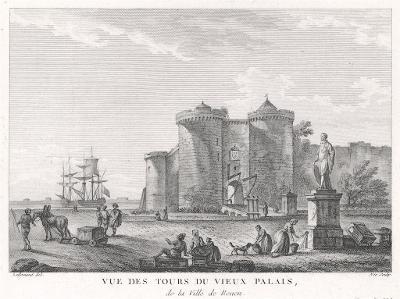 Rouen Vieux Palais, mědiryt, (1780)
