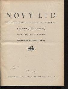 Nový lid, ročník XXXV./1938. List pro vzdělání a mrav