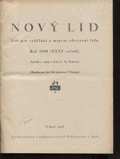 Nový lid, ročník XXXV./1938. List pro vzdělání a mrav - Knihy