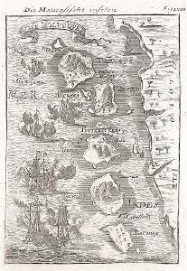 Moluky ostrovy, Mallet, mědiryt, 1719
