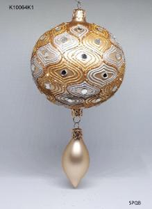 K10064K1 - koule 10 s ověsem, zlatá, 10cm