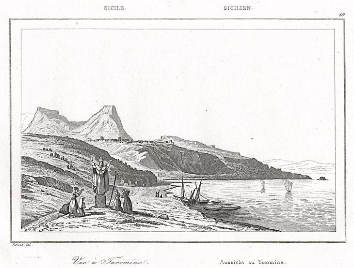 Taormina, Le Bas, oceloryt 1840 - Antikvariát