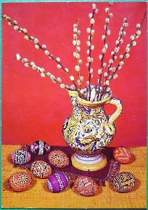 VESELÉ VELIKONOCE / malovaná váza, kočičky, kraslice /
