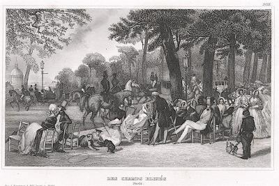 Paris Champs Elises, Meyer, oceloryt, 1850