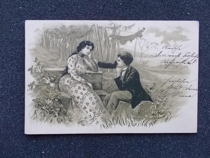Umělecká reliéfní litografická pohlednice láska zamiloaný pár Šumperk  - Pohlednice