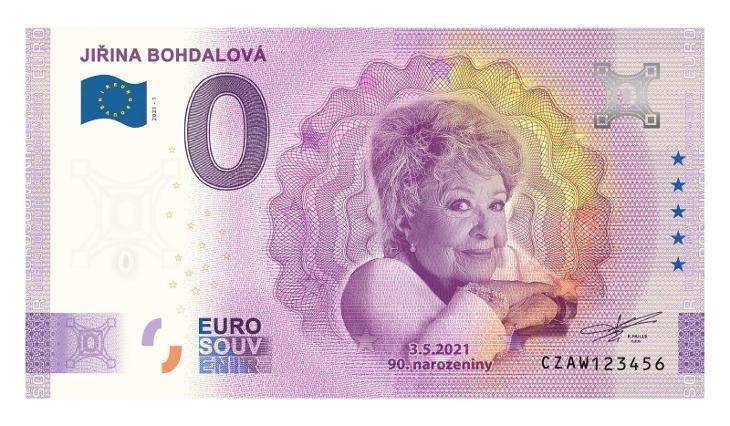 0 Euro Souvenir bankovka JIŘINA BOHDALOVÁ - pamětní sběratelská edice - Bankovky