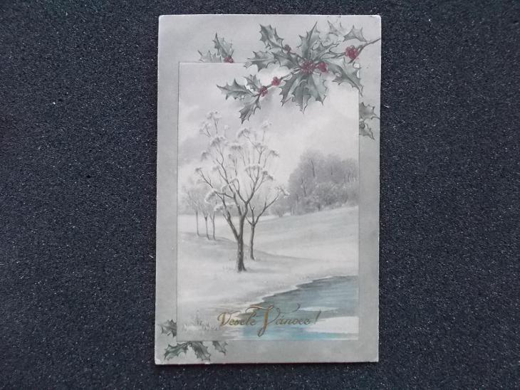 Umělecká romntická pohlednicde Veselé Vánoce  - Pohlednice