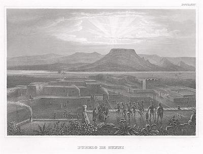 Zuni Pueblo, New Mexico, Meyer, oceloryt, 1850