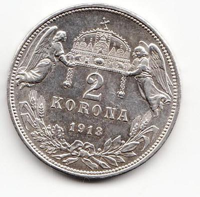 "Fr.J.I., 2 Korona 1913 KB, ""R"", luxusný stav TOP, UNC, od 1 Kč"