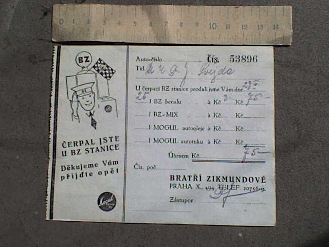 DOKUMENT - 103  BENZIN  ÚČTENKA   - Antikvariát