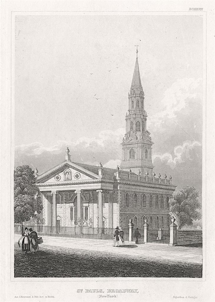 New York Broadway St. Paul, Meyer, oceloryt, 1850 - Antikvariát